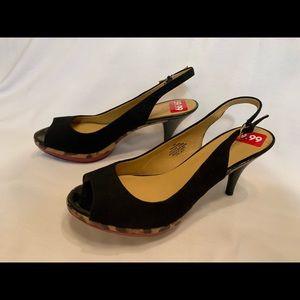 Leather Nine West heels sling back black red sole